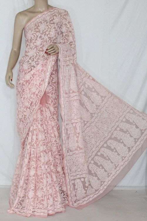 Peach Color Allover Hand Embroidered Lucknowi Chikankari Saree (With Blouse - Cotton) 14357