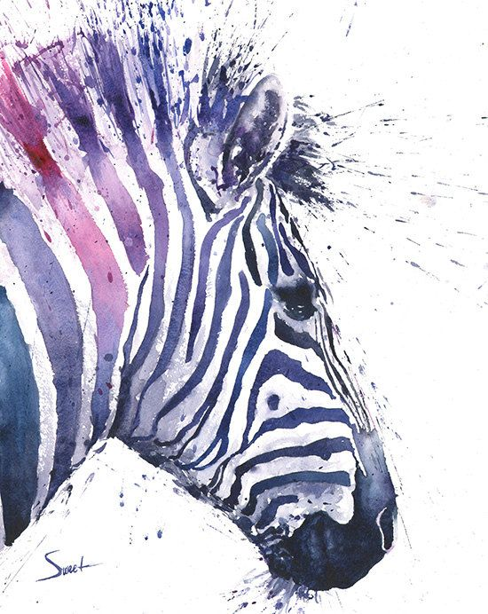 ZEBRA PRINT  watercolor zebra painting zebra decor by SignedSweet