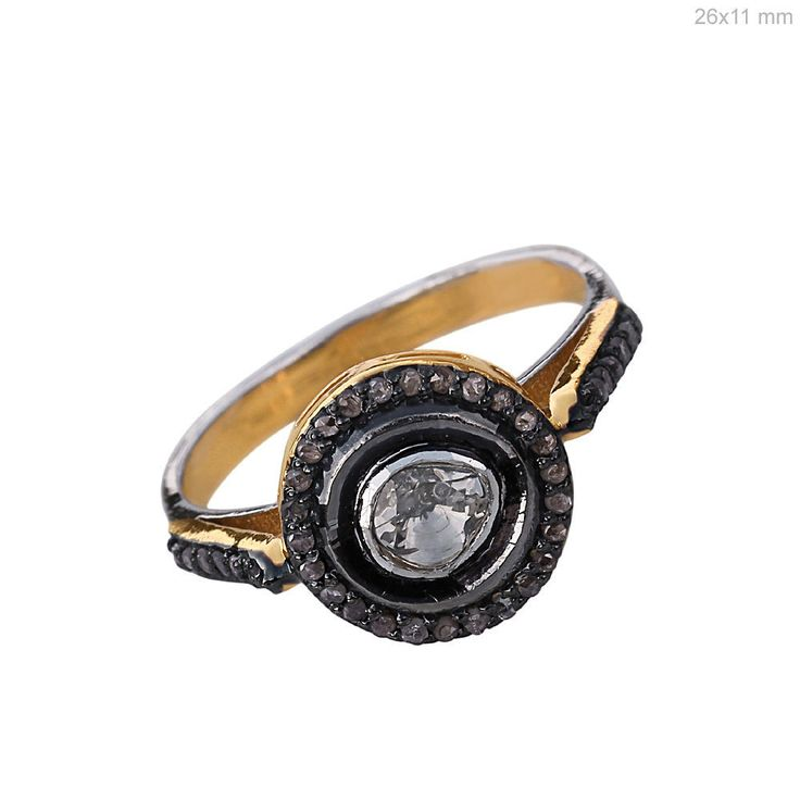 14k Yellow Gold Polki Diamond Handmade Promise Ring 925 Sterling Silver Jewelry #Handmade