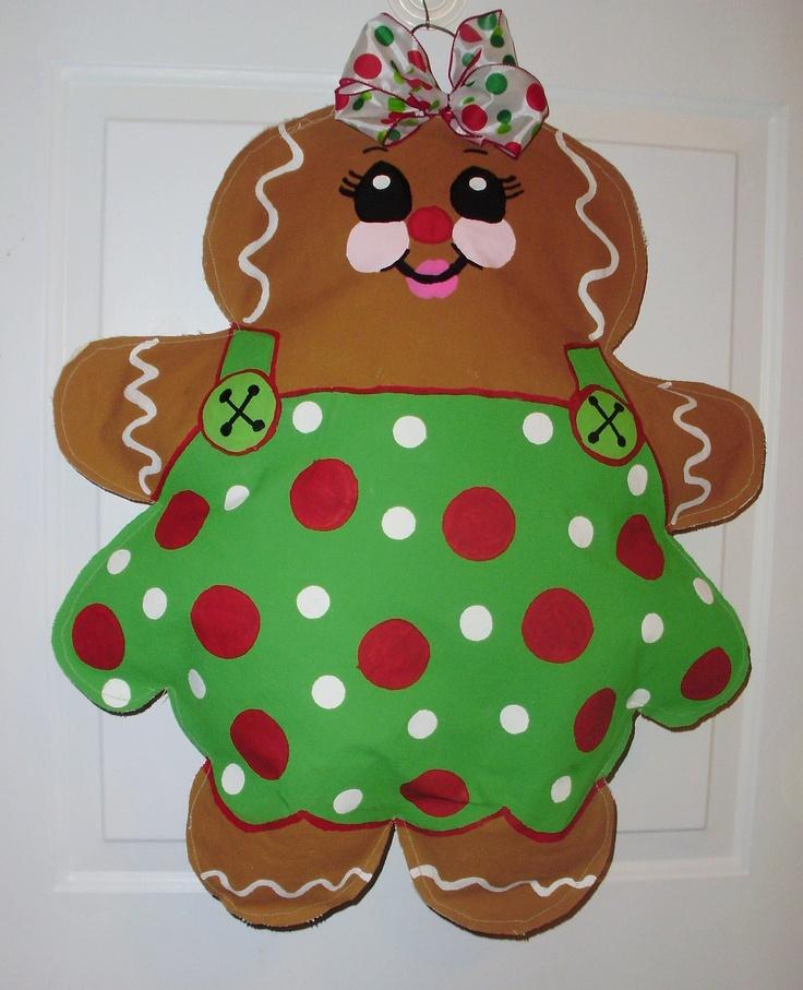 Gingerbread Girl Christmas Door Hanger BURLAP   Holiday Door Decor. $25.00, via Etsy.