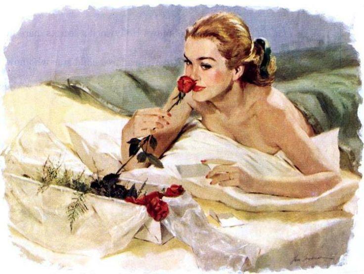 Ilustração: Rosas, por Len Steckler, década de 1970.