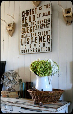 Love this sign. Hobby lobby sells vinyl letters in this style and size for around 4.00 a pack. Could use a cheap canvas and spray paint over then remove letters. A bold reminder that Christ is always present.