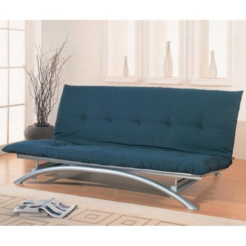 Coaster Contemporary futon frame Armless style with gentle arched front frame.