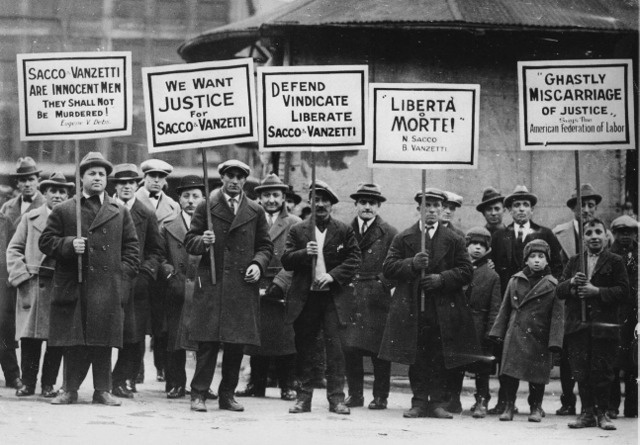 Protesters during the trial of Sacco and Vanzetti