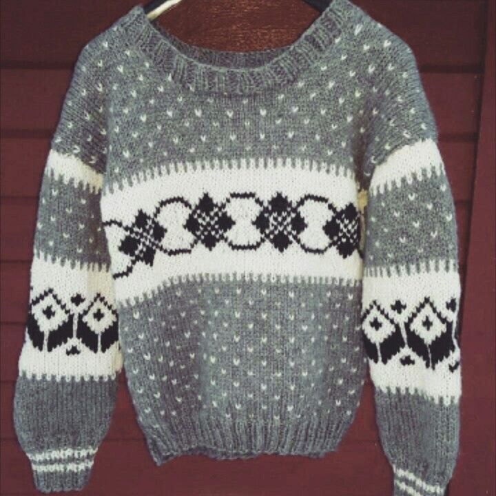 Grey knitted sweater with pattern. Homemade.