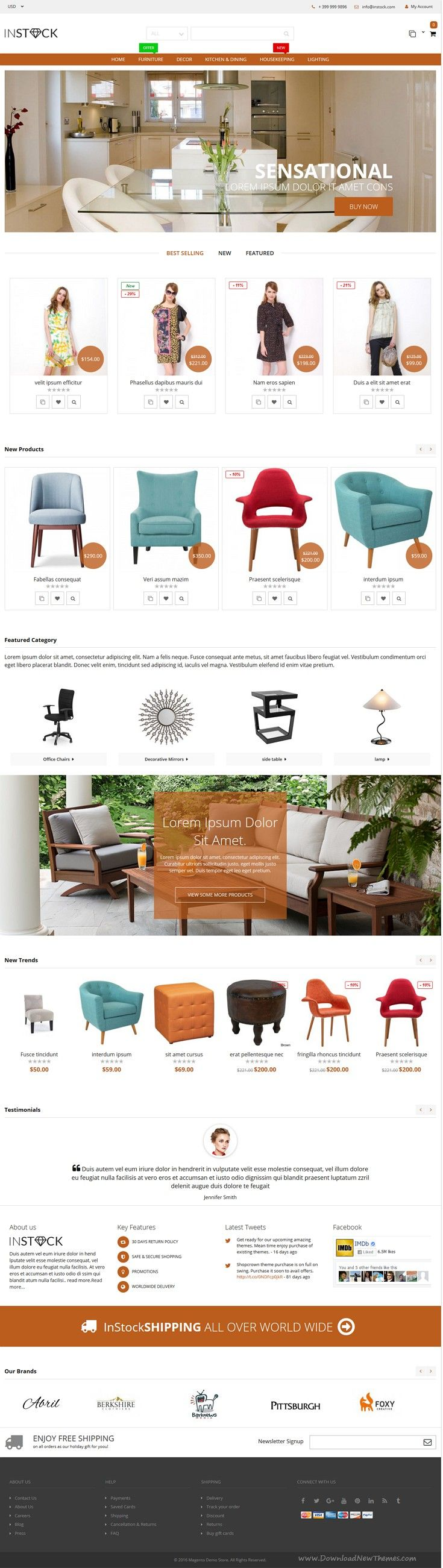 Instock is a premium responsive clean, modern and elegant design magento theme for multipurpose eCommerce #website. #furniture #interior #decor #store Download Now!