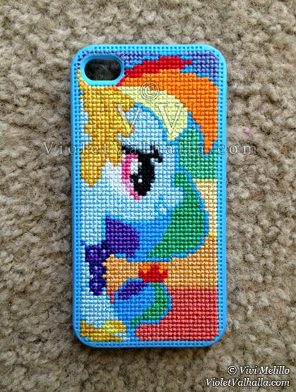 Iphone case cross stitch - Rainbow Dash from My Little Pony