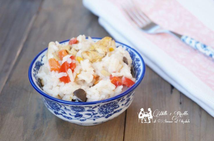 Insalata di riso freddo con dadini di pollo, un modi diversi di servire il riso, facile e veloce senza aggiunta di grassi...