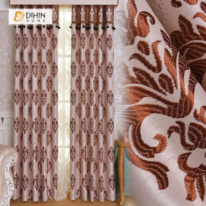 Elegant Living Room Curtains Dihin Home Brown Elegant