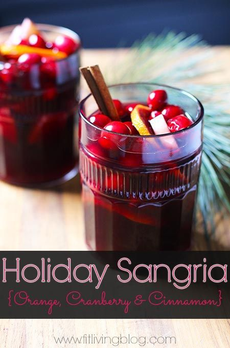 Make this festive holiday sangria for your next party or night in! Flavored with orange, cranberry and cinnamon with no added sugars. #sangria #recipe #cocktail