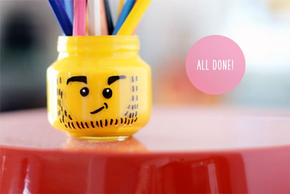 DIY LEGO Pencil Holder - Such a genius use of the jar shape – we love the idea of making a bunch of Lego heads with different expressions.