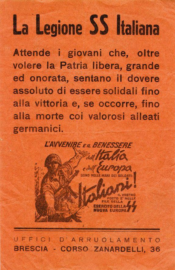 Italian Waffen SS recruiting propaganda poster - pin by Paolo Marzioli