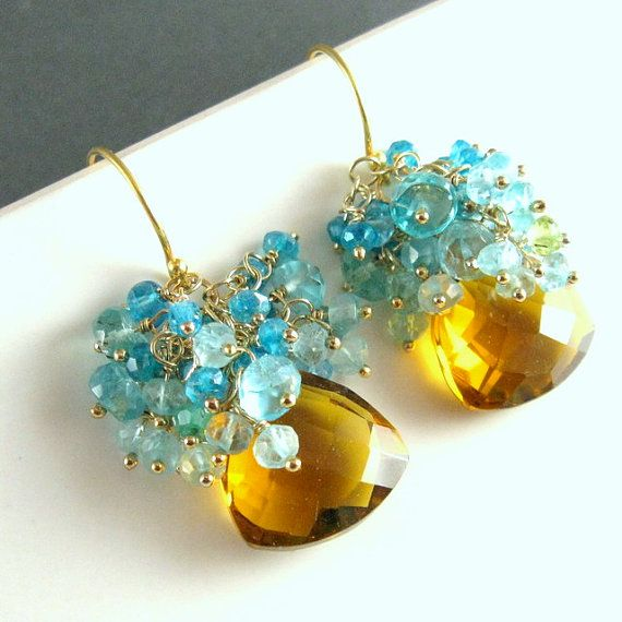 Cognac Quartz Blue Topaz and Neon Apatite Cluster by SurfAndSand