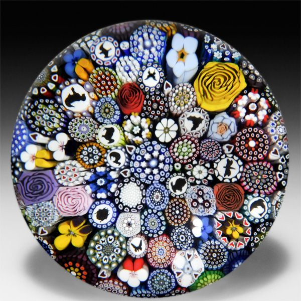 Mike Hunter 2014 close packed millefiori with silhouettes magnum paperweight. by Twists Glass Studio: