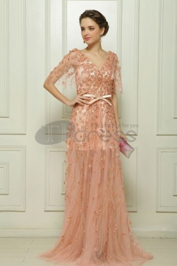 Malay satin hand-beaded meat fell to the ground pink evening dress