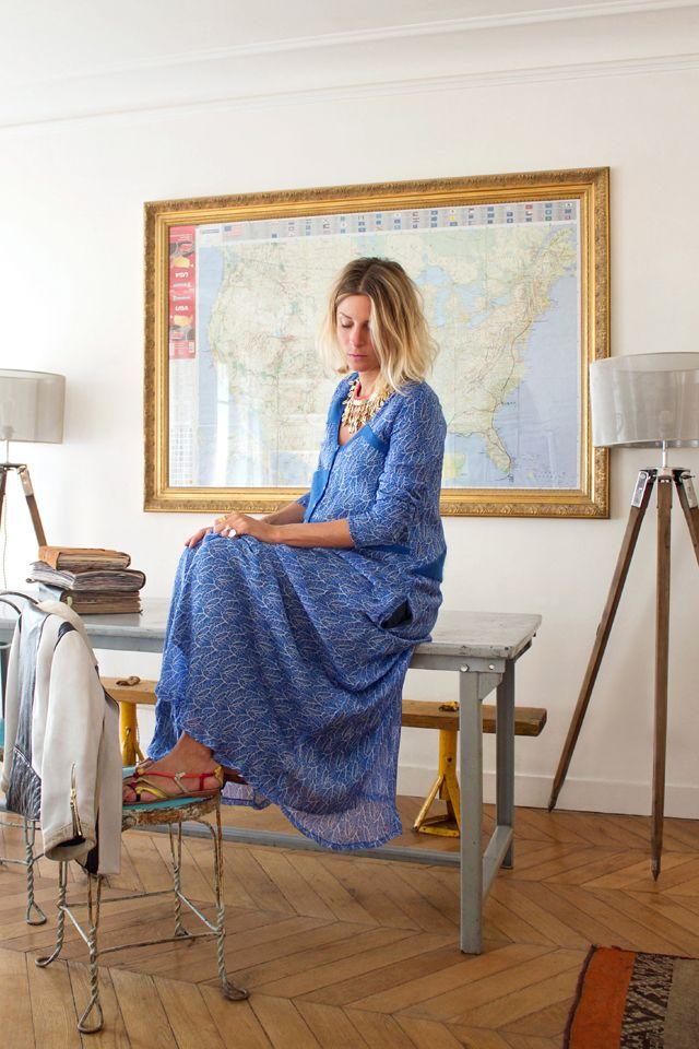 Robe longue + Sandales asymétriques + Perfecto Russell Heimstone