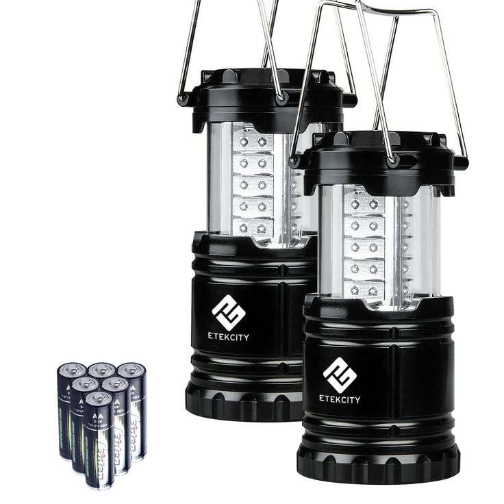 Etekcity 2 Pack Portable Outdoor LED Camping Lantern with 6 AA Batteries (Black Collapsible)