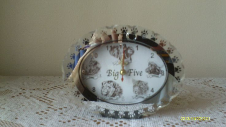 Big Five Glass Clock - ideal for bedroom tables. (Product code B5-2) Price includes vat and shipping charge. Subject to availability from supplier.