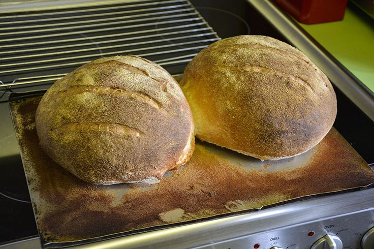 (14)  When the time is up, take out of the oven. Tapping the base should give a hollow sound and the loaves should feel light. If they don't brown, or it appears they haven't cooked properly, you need to check the temperature settings on your oven. (Chris S)