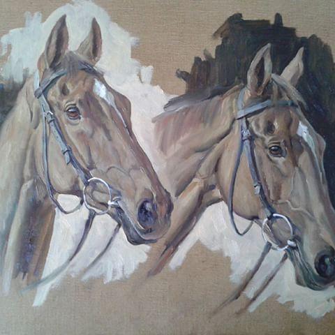 Oil sketch of Silviniaco Conti, on linen canvas 12×16.#paulnichollsracing #dicheat #nationalhuntracing #racing #horsesinart #equestrian #equestrianart #equestrianlife #horsesinart #horsesofinstagram #horse