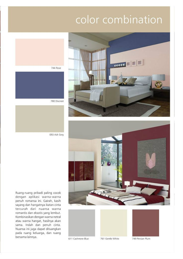 Persian Plum & Cashmere Blue, an elegant yet warm color combination for minimalist bedroom interior design. Inspiration from SANLEX 6000 wall paint! #HiyotoIdea #homedesign #homedecor #housedesign #housedecor #interiordesign #bedroom