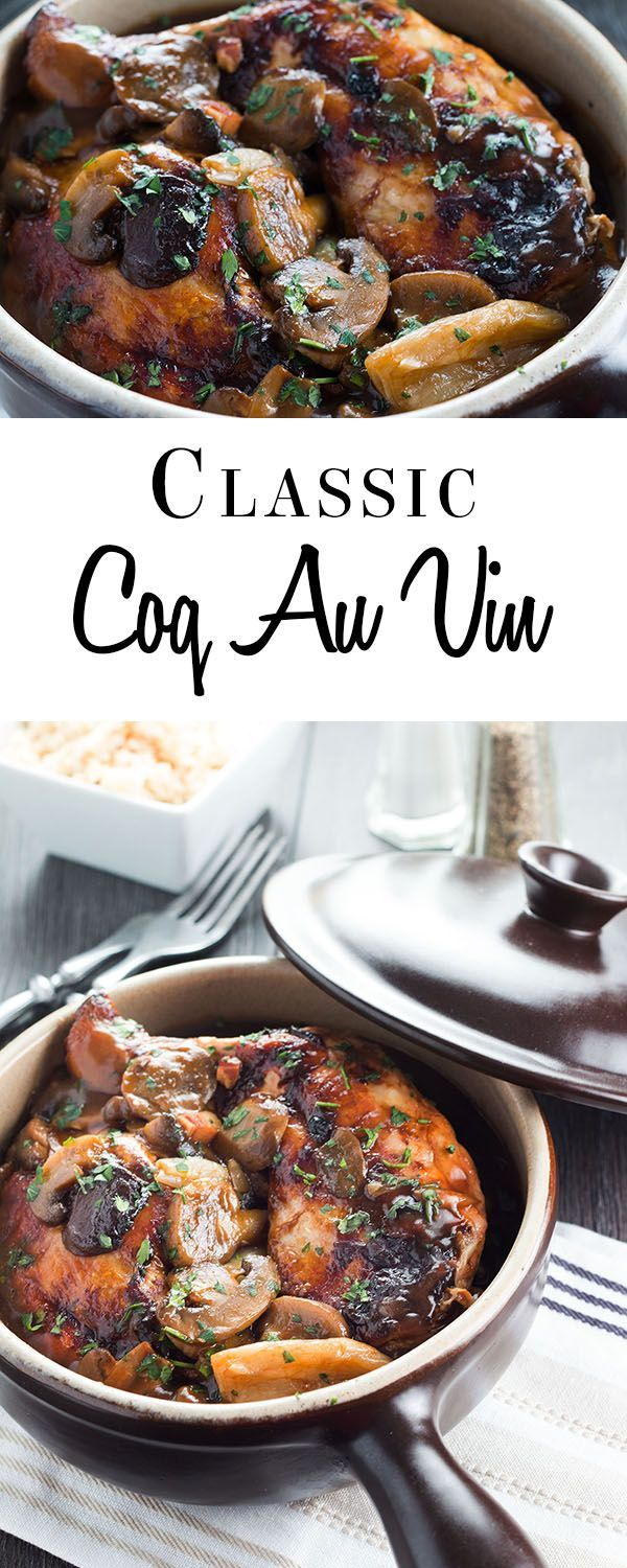 This recipe for Classic Coq Au Vin makes a comforting, tasty chicken stew with a delicious wine sauce, mushrooms bacon and shallots. via @Erren's Kitchen