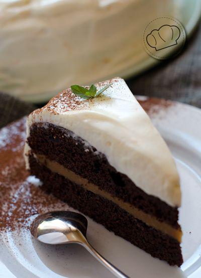 receta de Tarta de chocolate, toffee y cobertura de naranja