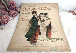 Ancienne partition de 1897 de la Valse des Cambrioleurs, opérette de Louis Varney avec un dessin de Madola sur la page de couverture.