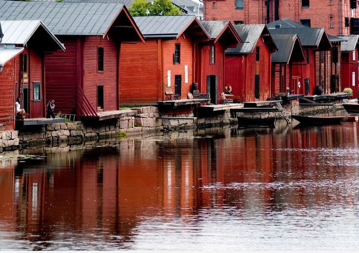 The old town from Porvoo in Finland is a medieval village which is still inhabited and remain unchanged.