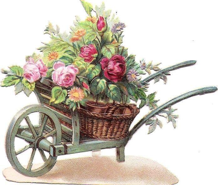 Oblaten Glanzbild scrap die cut chromo Blumen Karre wheelbarrow Scheibtruhe