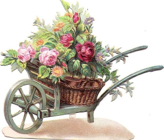 Oblaten Glanzbild scrap die cut chromo  Blumen Karre wheelbarrow Scheibtruhe