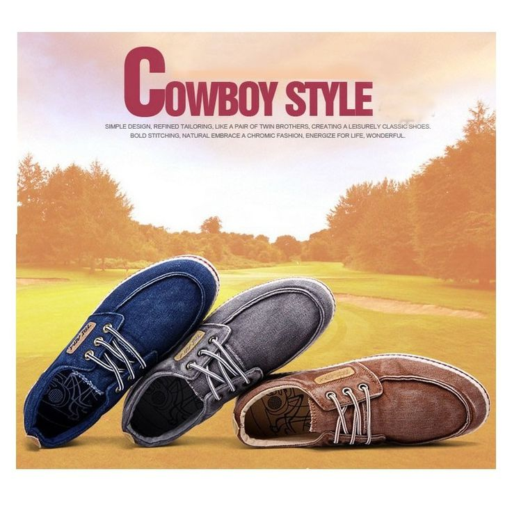 2015 New Casual Denim Spring/Autumn Lace-Up Closed Toe Flats Men's Shoes 6.5-10inch Rubber Men Shoes