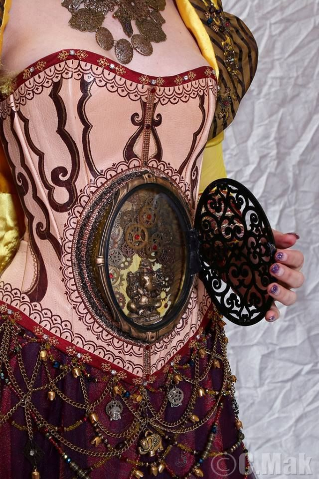 A far better execution of the viewing window idea   Very clever Steampunk Corset by Nola Yergen