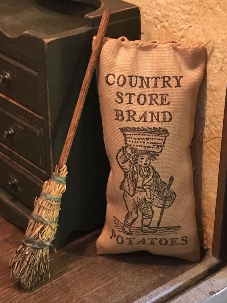 Antique Miniature Dollhouse Straw Broom Vintage Old Sack Country Store Potatoes #Deekin