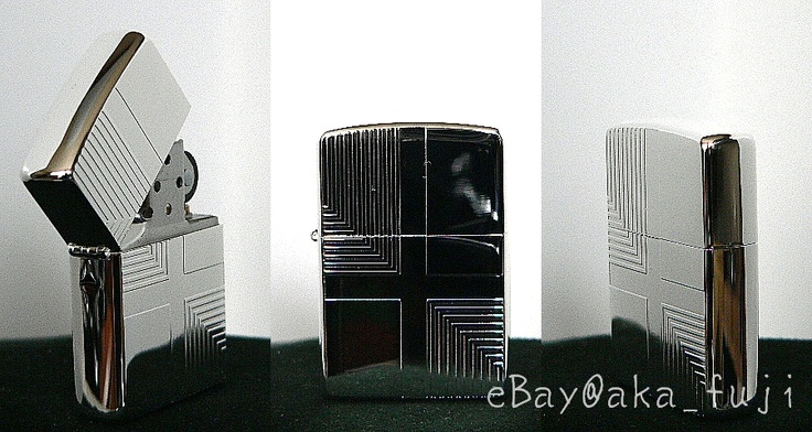 Elegant design Silver Polished RARE ZIPPO from JAPAN