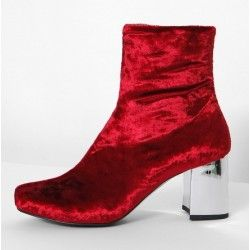 Red Velvet Suede Blunt Head Silver High Heels Ankle Boots Shoes