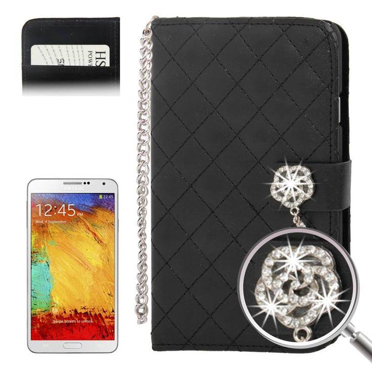 Zwarte Samsung Galaxy Note 3 Bookcase hoes met diamandlook sluiting
