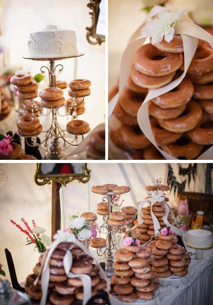 DIY Krispy Kreme Wedding Doughnut Bar.  Simply Amazing! Never thought it would be possible to pair chic and elegant with donuts but this couple made it happen.  Would love to have this at my own reception