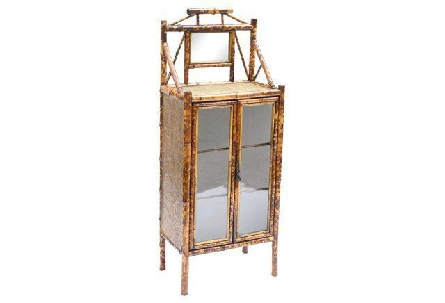 19th-C. Scorched Bamboo Cabinet