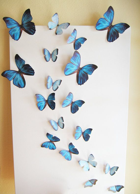 18 Butterflies Blue Something Blue Butterfly Paper Wall Decor 3d Nursery Baby Wedding Baby Shower Girls Room Cardstock