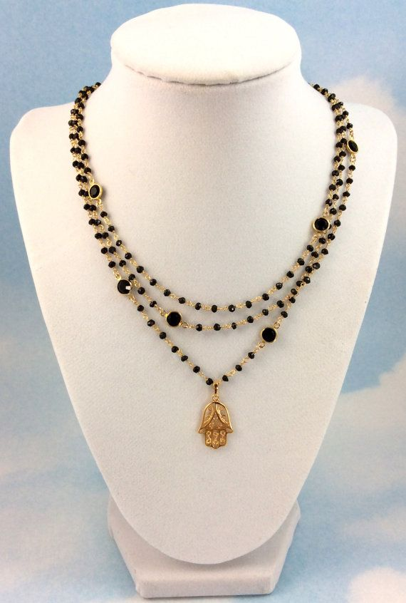 Gold Hamsa Necklace Black Spinel Gemstones by divinitycollection, $165.00