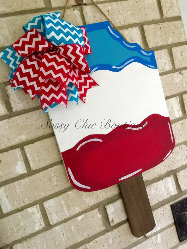 "Custom Red, White, and Blue Wooden Popsicle - Your choice of Phrase - 18"""" or 24"""""