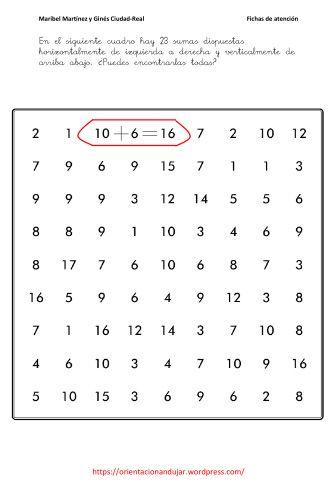 fichas atencion matemáticas tdh | atencion-con-las-matematicas