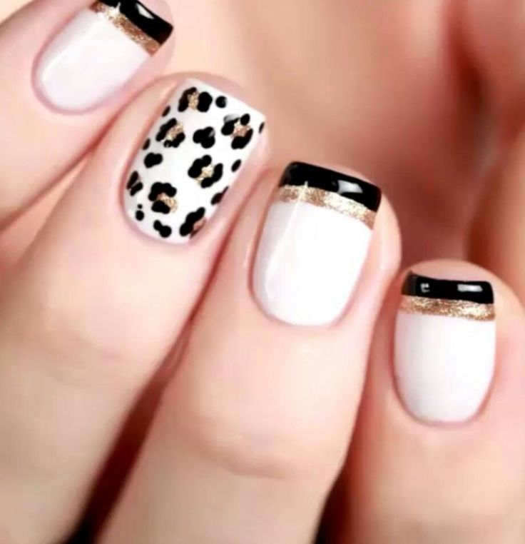 White gold black leopard nails *KORRECTION* i like all but the animal print #tack