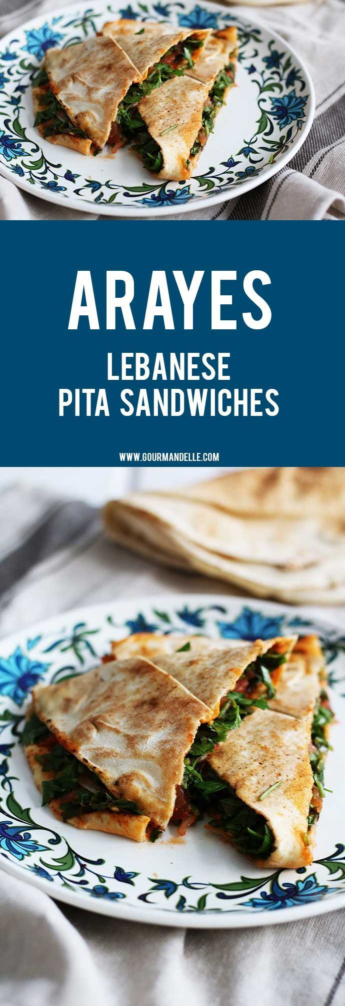 Arayes is a popular Middle Eastern recipe and it's basically grilled pita sandwiches with a delicious filling. Give it a try! #vegetarian #veganrecipes #sandwich