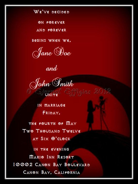 Red and Black Jack and Sally Silhouette- Nightmare Before Christmas Inspired Printed Wedding Invitation