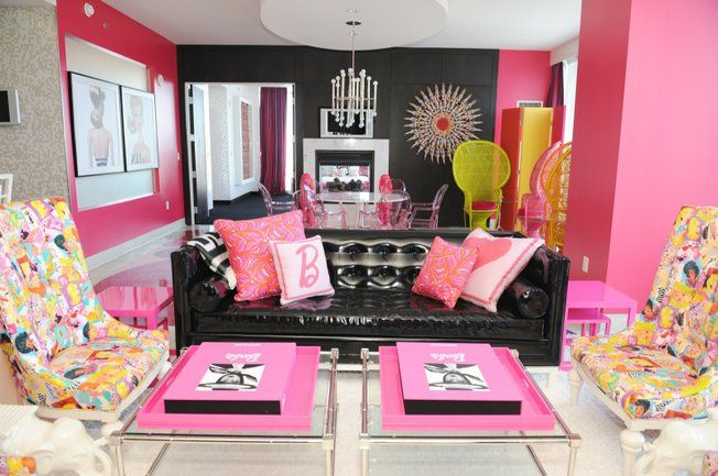 Pink, Black, White, & Yellow Living and Dining Room. Ultimate Barbie Hotel Suite - Palms Hotel, Las Vegas.