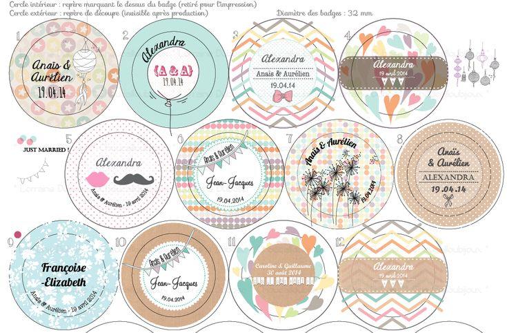 Badges mariage personnalisés Nénette & YenYen – Craft & Pastel