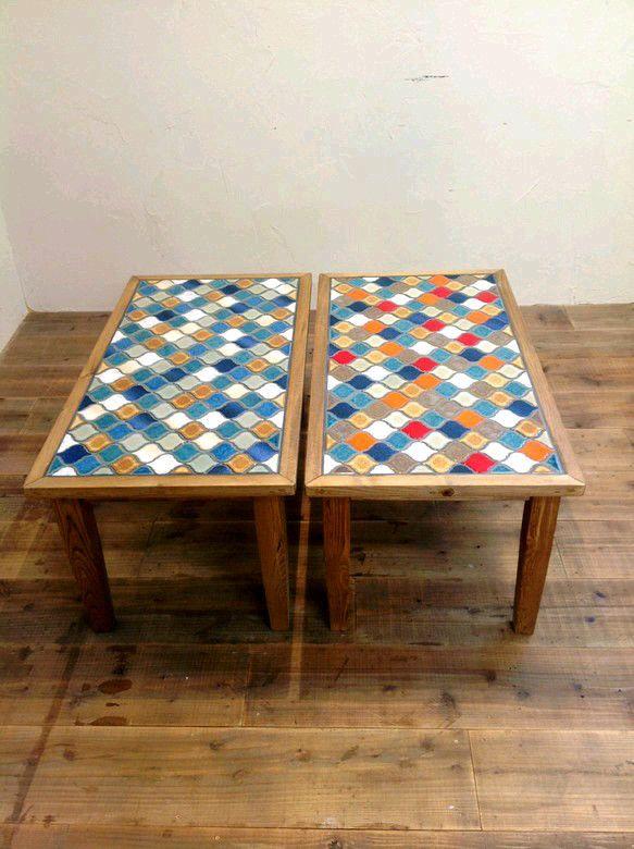 タイルトップローテーブル Aパターン テーブル・机 kacco ハンドメイド通販・販売のCreema