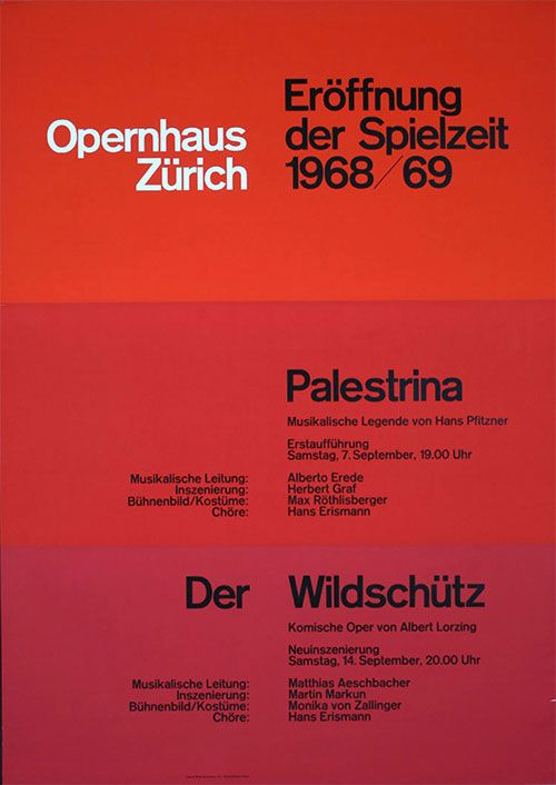 """Opernhaus Zurich — Josef Müller-Brockmann  These less flashy JMB pieces have always been my favorite. A little more brutalist than the stuff people usually hype up. Love the """"gradient"""" background."""